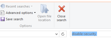Turn off search entries in file explorer