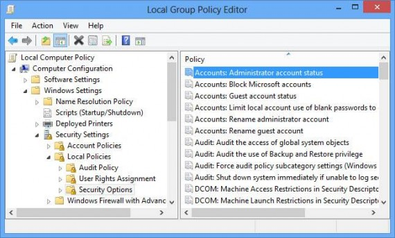 Enabling administrator account using group policy