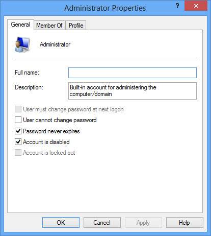 Enabling administrator account using user management console