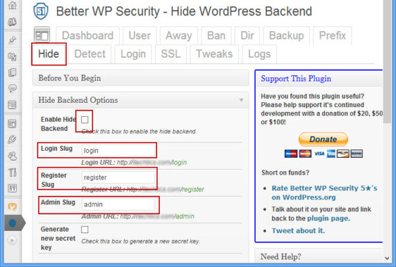 Hide WordPress Admin by changing slugs