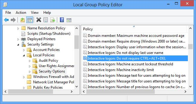 Local group policy editor enabling secure logon in Windows 8