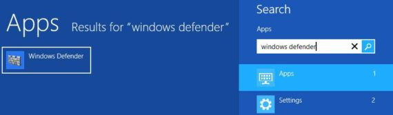 Windows search result Windows Defender