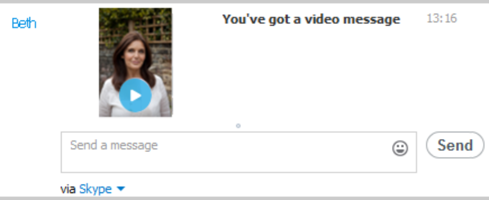 You have got a video message on skype
