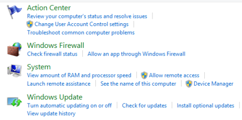 Control Panel - Windows Update