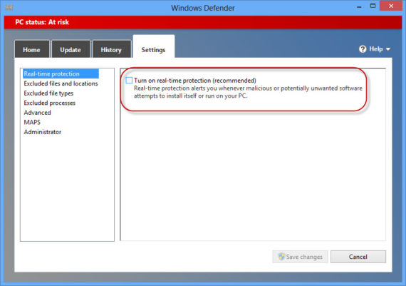 turn off real-time protection in Windows Defender