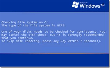 Check Disk (chkdsk) Runs Every Time Windows Starts
