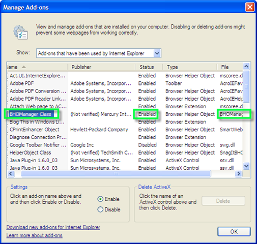 Manage Addons in Internet Explorer