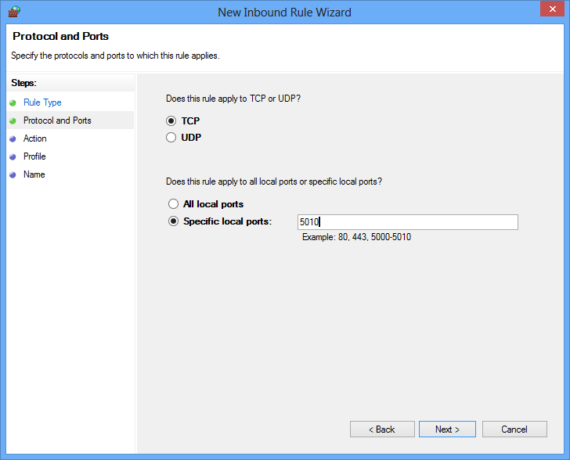 New inbound rule protocol and ports