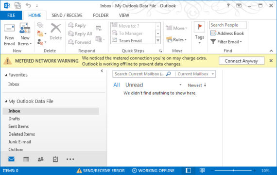 Outlook metered network warning