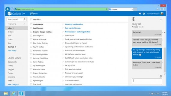 Outlook.com with Google Chat integrated