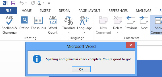 Spell and Grammar Checker Microsoft Word Windows 8