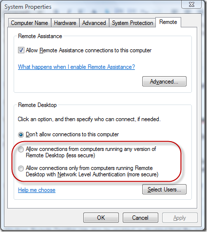 System Properties remote desktop connection