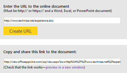 URL of office document