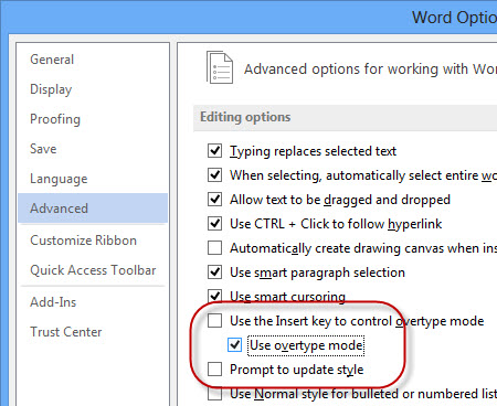 Overtype mode to enable the insert key