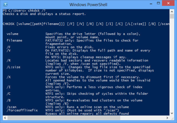 Windows PowerShell Chkdsk Command
