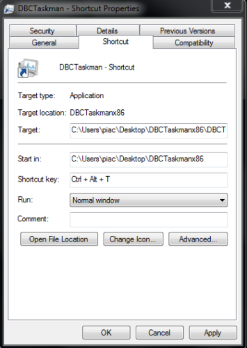 create shortcut to task manager