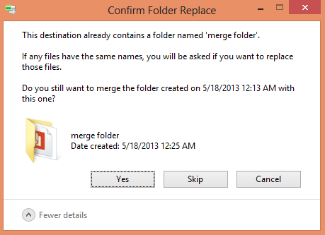 Confirm Folder Replace Dialog Box