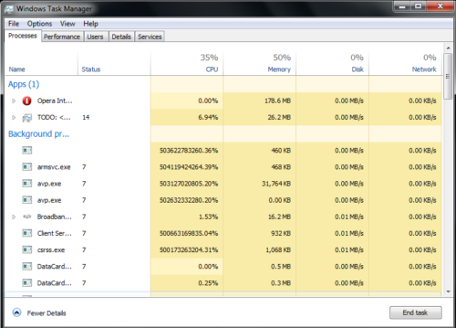Processes in Windows 8 Task Manager