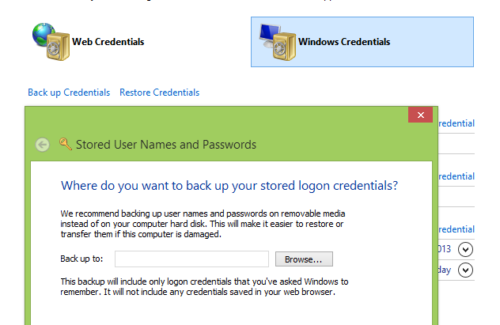 how to add outside network credentials in windows 8