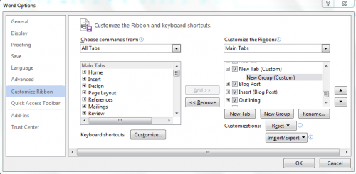 Add Commands in Ribbon bar Office 2013