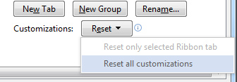 Reset Customizations in Ribbon bar Office 2013