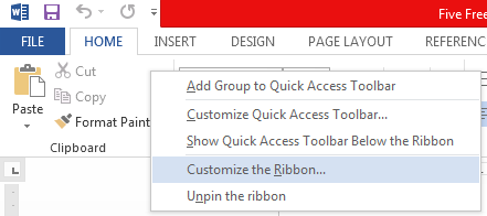 Customize the ribbon in Office 2013