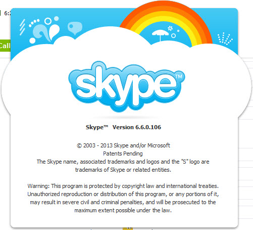 About Skype version 6.6.0.106