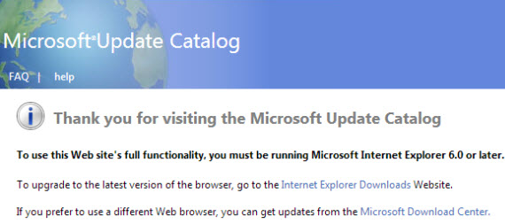 Microsoft Update Catalog error