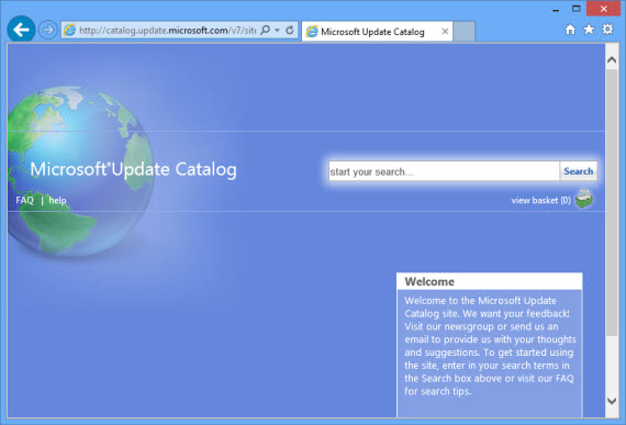 Microsoft Update Catalog homepage