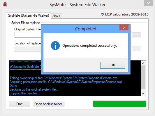 SysMate operation completed successfully