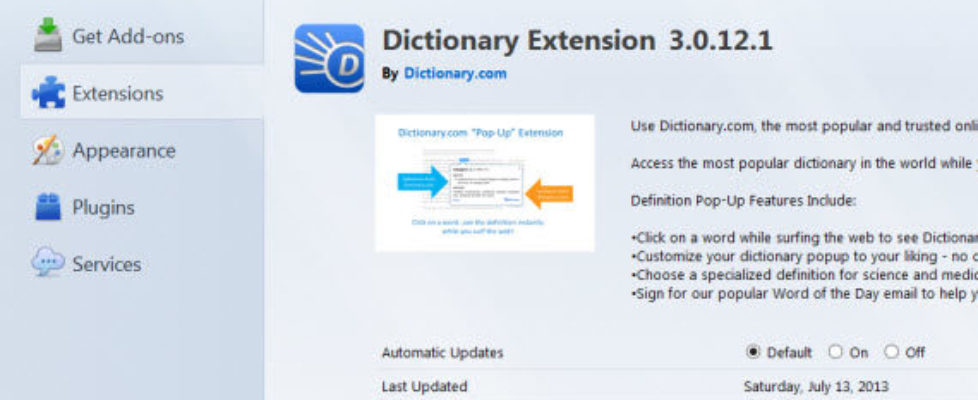 dictionary extension
