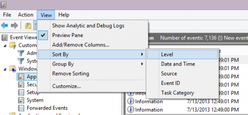 Sort Event Logs in Windows 8 Event Viewer