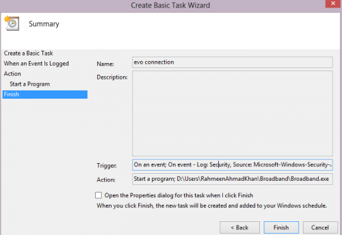 Attach task in event viewer